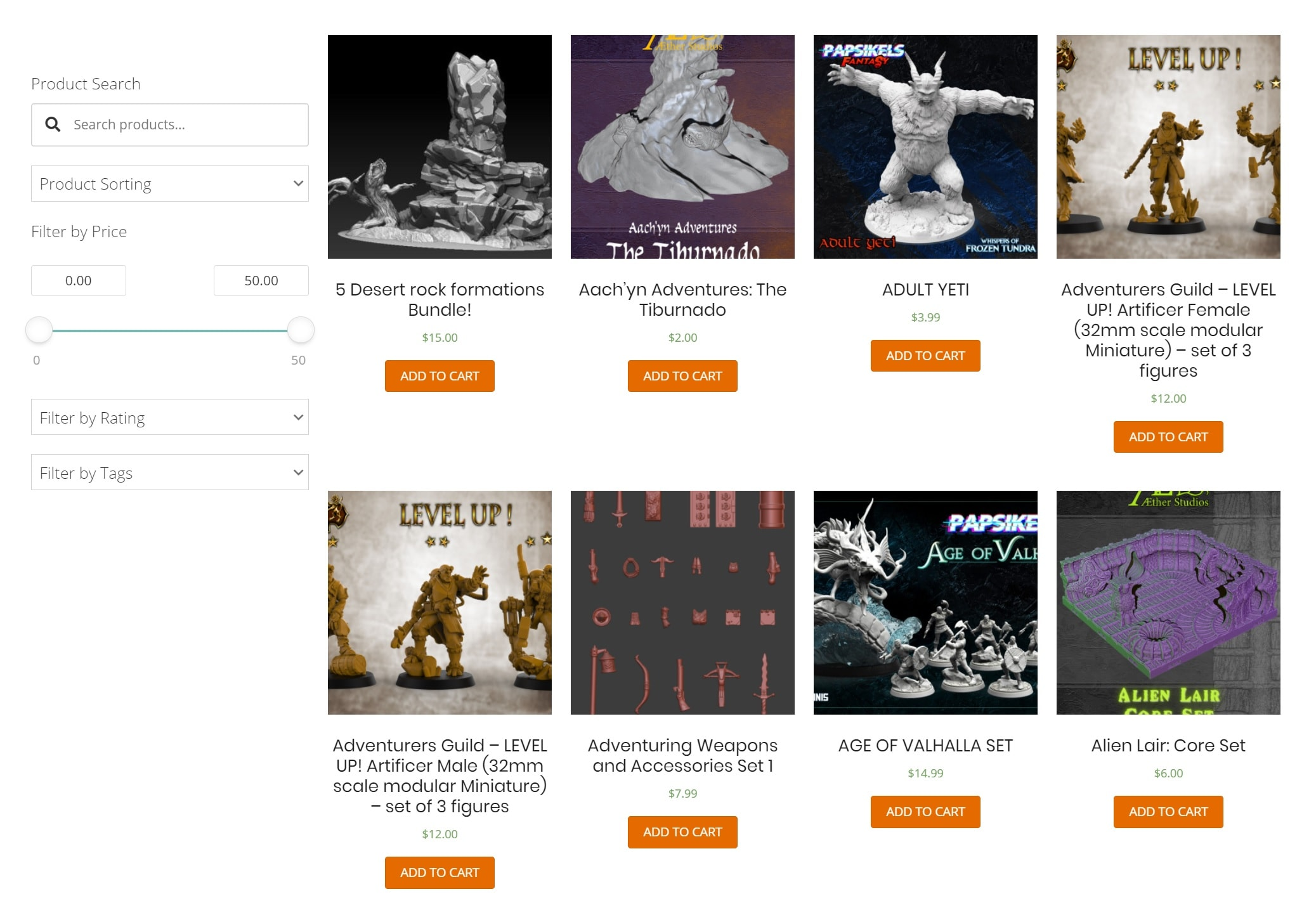 3D Printable Miniatures Catalogue