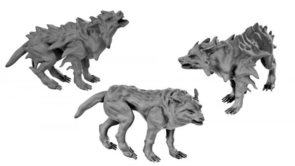 Blink dogs and dire wolf resin miniatures from Mystic PIgeon Gaming