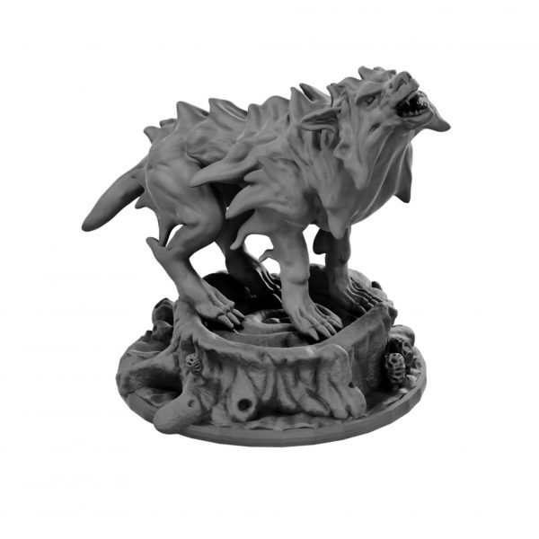 Blink dog on tree stump base resin miniature from Mystic Pigeon Gaming