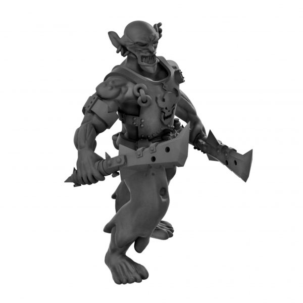 dnd Goblin warrior dual wielding daggers (resin miniature from Mystic Pigeon Gaming)