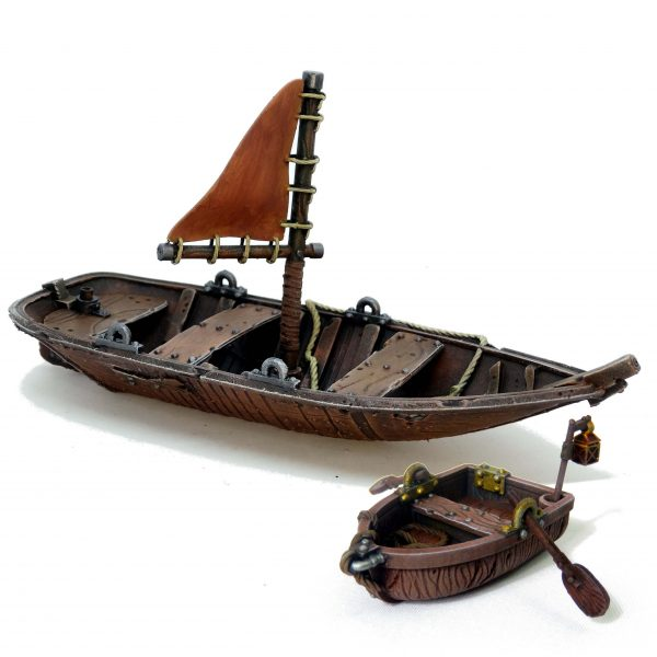 Row boat and sail boat miniatures from Mystic PIgeon Gaming
