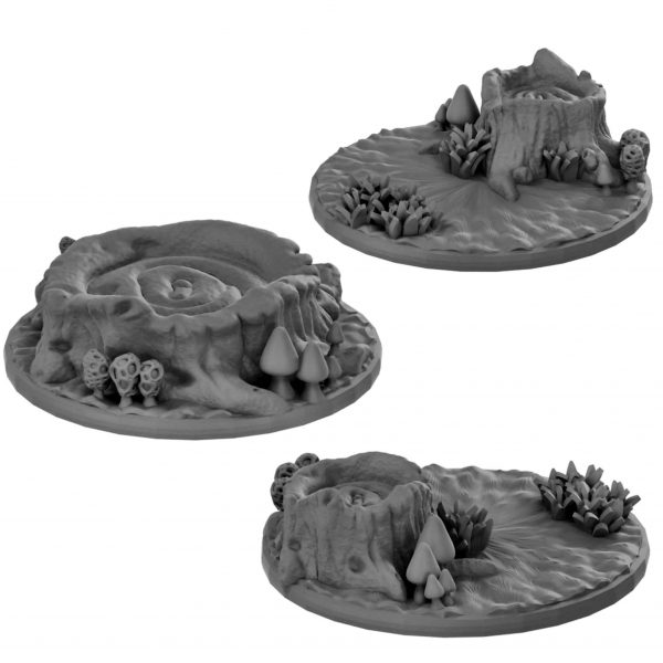 Tree stump base for miniatures form Mystic PIgeon Gaming