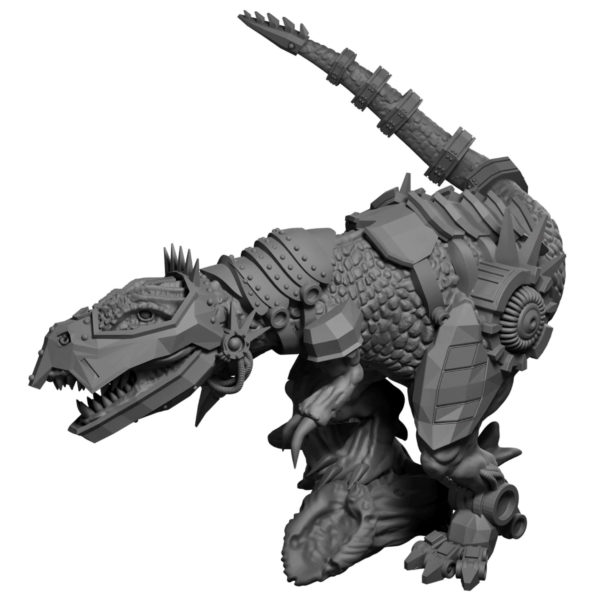 Cyborg t-rex miniature from Mystic Pigeon Gaming