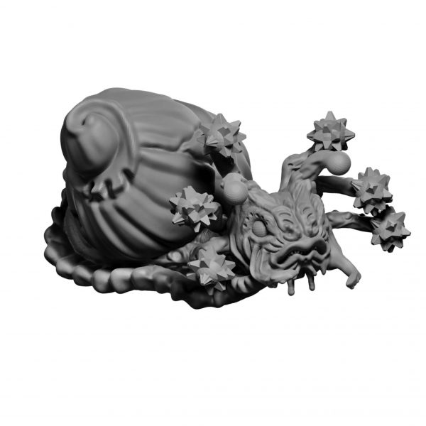 Flail snail miniature from Mystic Pigeon Gaming