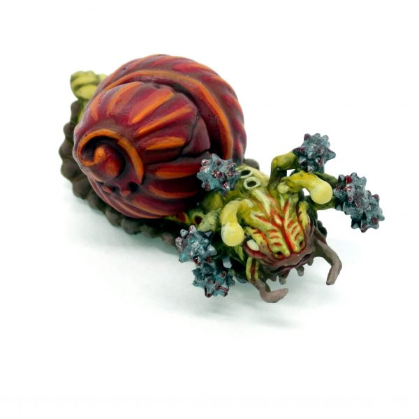 Painted flail snail resin miniature from Mystic Pigeon Gaming