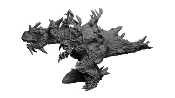 Sylvan Fey wood T-Rex miniature from Mystic Pigeon Gaming