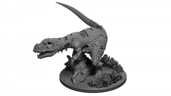 Zombie t-rex (undead dinosaur) miniature from Mystic Pigeon Gaming