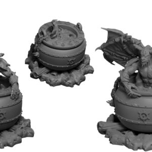 Witches cauldrons with demonic summons from Mystic Pigeon Gaming