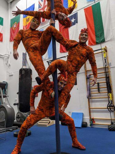 Kent Caldwell with his Cirque Du Soleil team.